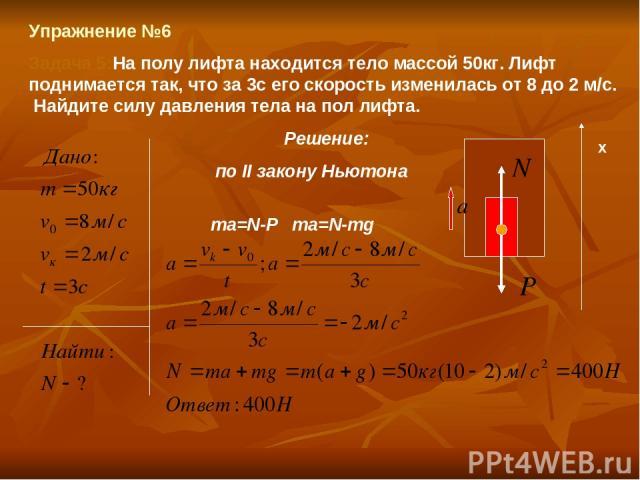 Упражнение №6 Задача 5:На полу лифта находится тело массой 50кг. Лифт поднимается так, что за 3с его скорость изменилась от 8 до 2 м/с. Найдите силу давления тела на пол лифта. Решение: по II закону Ньютона ma=N-P ma=N-mg х