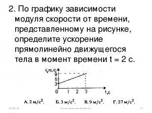 2. По графику зависимости модуля скорости от времени, представленному на рисунке