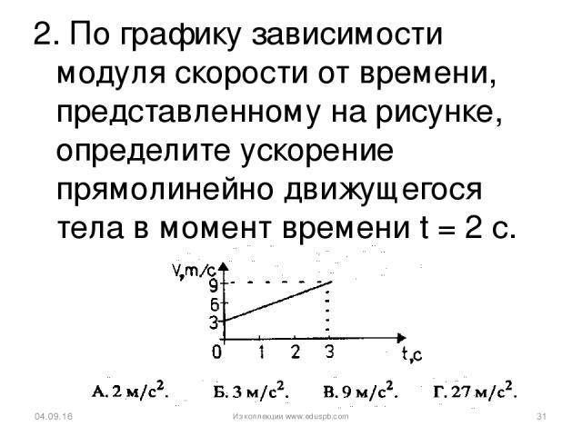 2. По графику зависимости модуля скорости от времени, представленному на рисунке, определите ускорение прямолинейно движущегося тела в момент времени t = 2 с. * * Из коллекции www.eduspb.com