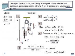 а β m1g m2g N1 N2 T T У У Х Х а а С каким ускорением будут двигаться грузы масса