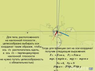 а Х FN1 N2 m1g m2g T 1 У T Fтр.1 N1 К концам троса, перекинутого через блок, при