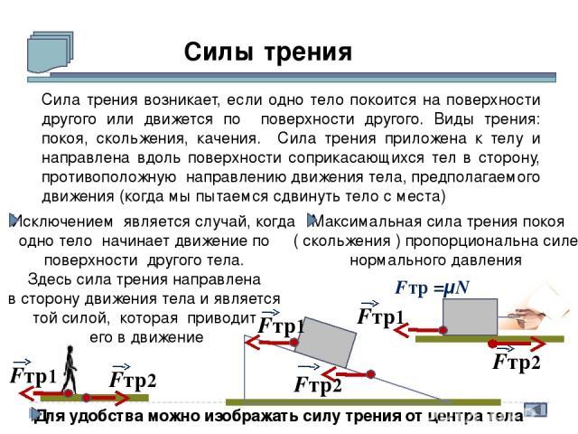 Силы трения Сила трения возникает, если одно тело покоится на поверхности другого или движется по поверхности другого. Виды трения: покоя, скольжения, качения. Сила трения приложена к телу и направлена вдоль поверхности соприкасающихся тел в сторону…