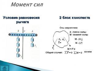Условие равновесия рычага 2 блок конспекта