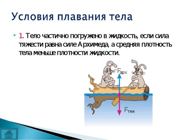 1. Тело частично погружено в жидкость, если сила тяжести равна силе Архимеда, а средняя плотность тела меньше плотности жидкости.