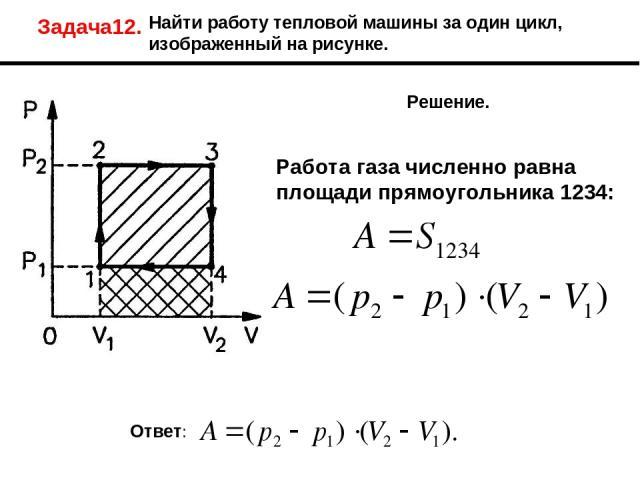 Задача12. Найти работу тепловой машины за один цикл, изображенный на рисунке. Решение. Работа газа численно равна площади прямоугольника 1234: Ответ: