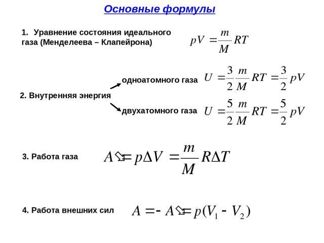 Основные формулы 2. Внутренняя энергия Уравнение состояния идеального газа (Менделеева – Клапейрона) одноатомного газа двухатомного газа 3. Работа газа 4. Работа внешних сил