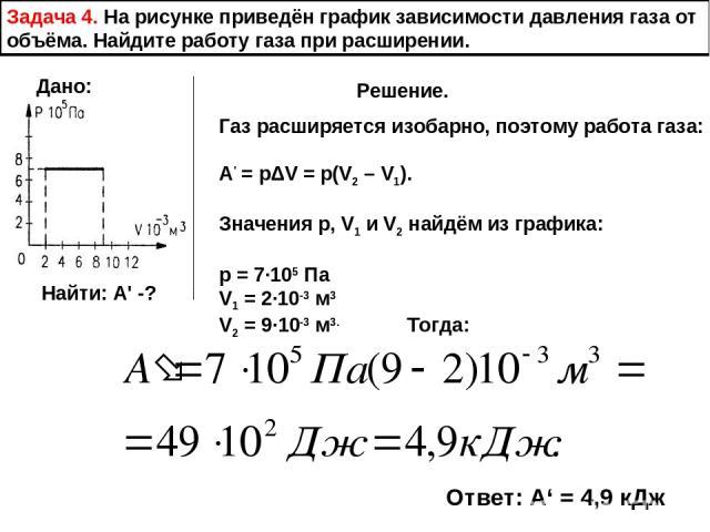 Задача 4. На рисунке приведён график зависимости давления газа от объёма. Найдите работу газа при расширении. Дано: Найти: А' -? Решение. Газ расширяется изобарно, поэтому работа газа: А' = pΔV = p(V2 – V1). Значения р, V1 и V2 найдём из графика: р …
