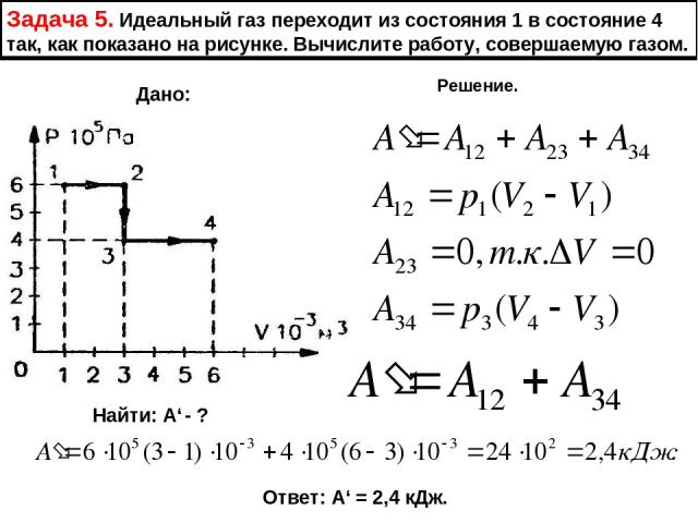 Задача 5. Идеальный газ переходит из состояния 1 в состояние 4 так, как показано на рисунке. Вычислите работу, совершаемую газом. Дано: Найти: А' - ? Решение. Ответ: А' = 2,4 кДж.