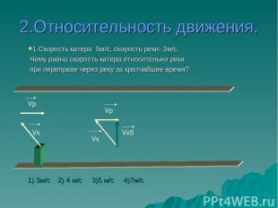 2.Относительность движения. Vкб Vк Vр Vр Vк 1.Скорость катера 5м/с, скорость рек