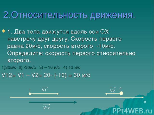 2.Относительность движения. 1. Два тела движутся вдоль оси ОХ навстречу друг другу. Скорость первого равна 20м/с, скорость второго -10м/с. Определите: скорость первого относительно второго. 1)30м/c 2) -30м/с 3) – 10 м/c 4) 10 м/с V12= V1 – V2= 20- (…