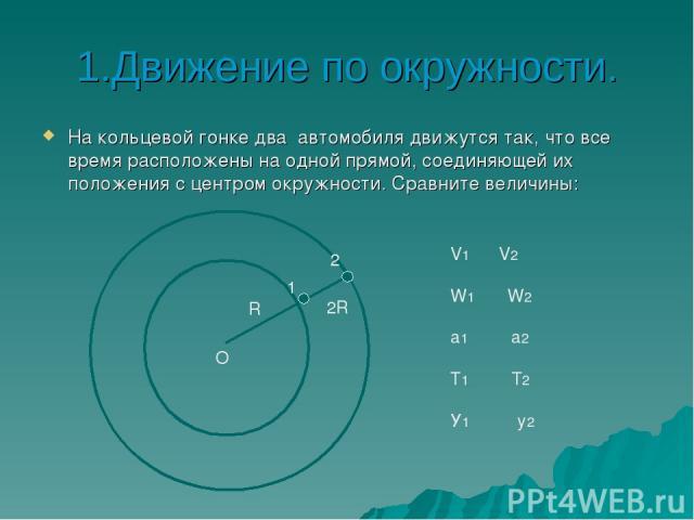 1.Движение по окружности. На кольцевой гонке два автомобиля движутся так, что все время расположены на одной прямой, соединяющей их положения с центром окружности. Сравните величины: О 1 2 R 2R V1 V2 W1 W2 а1 а2 Т1 Т2 У1 у2