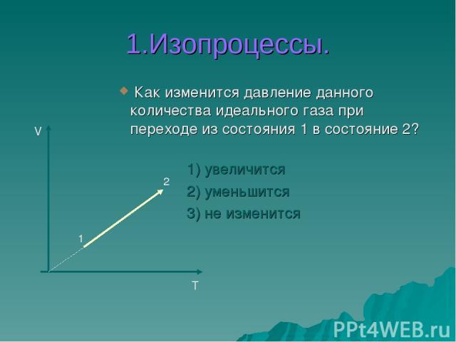 1.Изопроцессы. Как изменится давление данного количества идеального газа при переходе из состояния 1 в состояние 2? 1) увеличится 2) уменьшится 3) не изменится V T 1 2