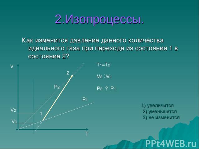 2.Изопроцессы. Как изменится давление данного количества идеального газа при переходе из состояния 1 в состояние 2? V T 1 2 P1 P2 T1=T2 V2 V1 P2 ? P1 V2 V1 1) увеличится 2) уменьшится 3) не изменится