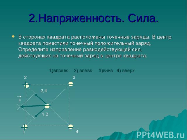 2.Напряженность. Сила. В сторонах квадрата расположены точечные заряды. В центр квадрата поместили точечный положительный заряд. Определите направление равнодействующей сил, действующих на точечный заряд в центре квадрата. F 1 2 3 4 2,4 1,3 1)вправо…