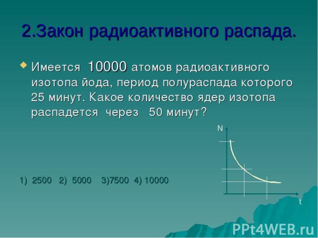 2.Закон радиоактивного распада. Имеется 10000 атомов радиоактивного изотопа йода, период полураспада которого 25 минут. Какое количество ядер изотопа распадется через 50 минут? 1) 2500 2) 5000 3)7500 4) 10000 N t