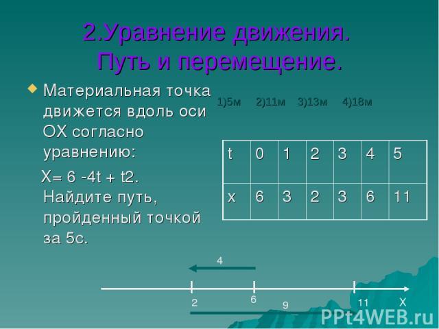 2.Уравнение движения. Путь и перемещение. Материальная точка движется вдоль оси ОХ согласно уравнению: Х= 6 -4t + t2. Найдите путь, пройденный точкой за 5с. Х 6 2 11 4 9 1)5м 2)11м 3)13м 4)18м t 0 1 2 3 4 5 х 6 3 2 3 6 11