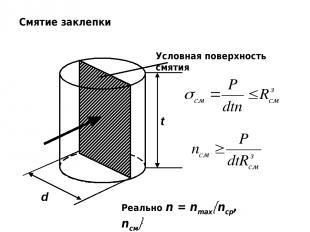 Смятие заклепки Условная поверхность смятия d t Реально n = nmax nср, nсм
