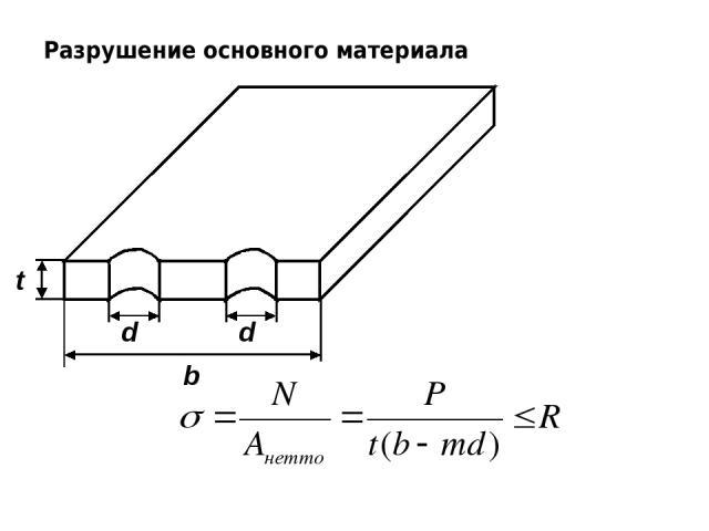 Разрушение основного материала d d b t