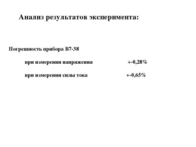 Анализ результатов эксперимента: Погрешность прибора B7-38 при измерении напряжения +-0,28% при измерении силы тока +-0,65%