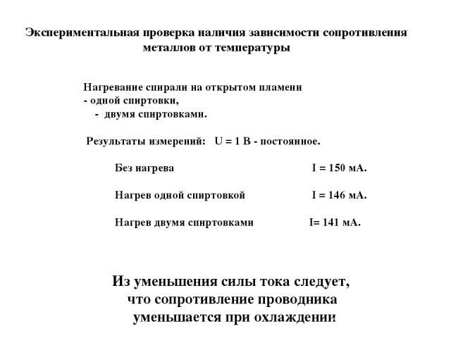 Экспериментальная проверка наличия зависимости сопротивления металлов от температуры Нагревание спирали на открытом пламени - одной спиртовки, - двумя спиртовками. Результаты измерений: U = 1 В - постоянное. Без нагрева I = 150 мА. Нагрев одной спир…