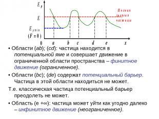 • Области (ab); (cd): частица находится в потенциальной яме и совершает движение