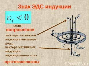 Знак ЭДС индукции если направления вектора магнитной индукции индукционного тока