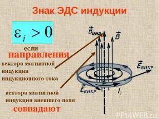 Знак ЭДС индукции если направления совпадают вектора магнитной индукции индукцио