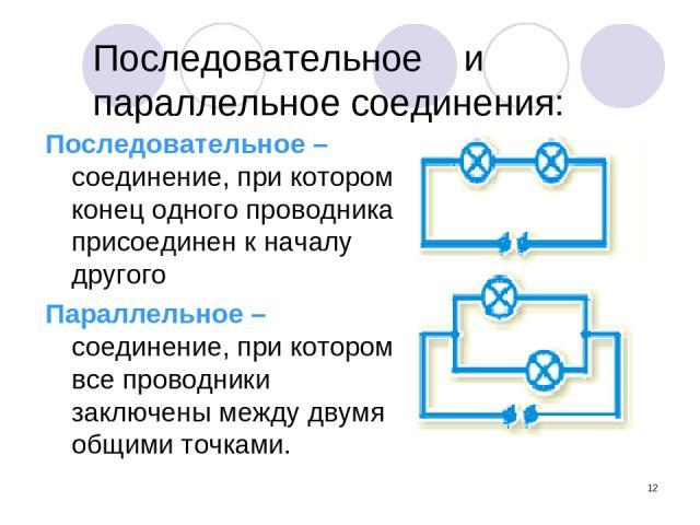 * Последовательное и параллельное соединения: Последовательное – соединение, при котором конец одного проводника присоединен к началу другого Параллельное – соединение, при котором все проводники заключены между двумя общими точками.
