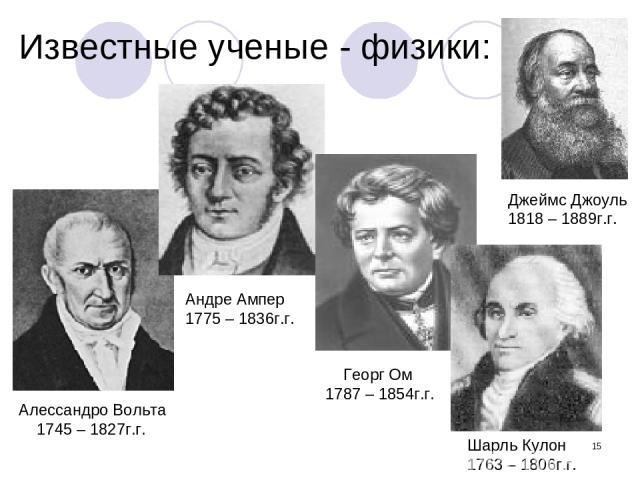 * Известные ученые - физики: Алессандро Вольта 1745 – 1827г.г. Андре Ампер 1775 – 1836г.г. Георг Ом 1787 – 1854г.г. Джеймс Джоуль 1818 – 1889г.г. Шарль Кулон 1763 – 1806г.г.