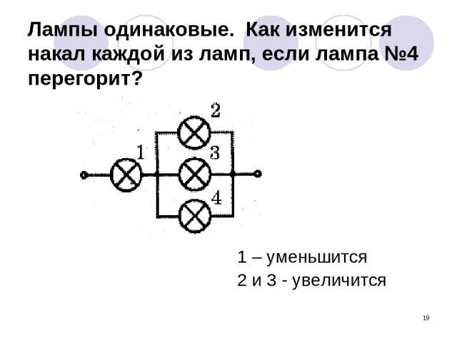 * Лампы одинаковые. Как изменится накал каждой из ламп, если лампа №4 перегорит? 1 – уменьшится 2 и 3 - увеличится