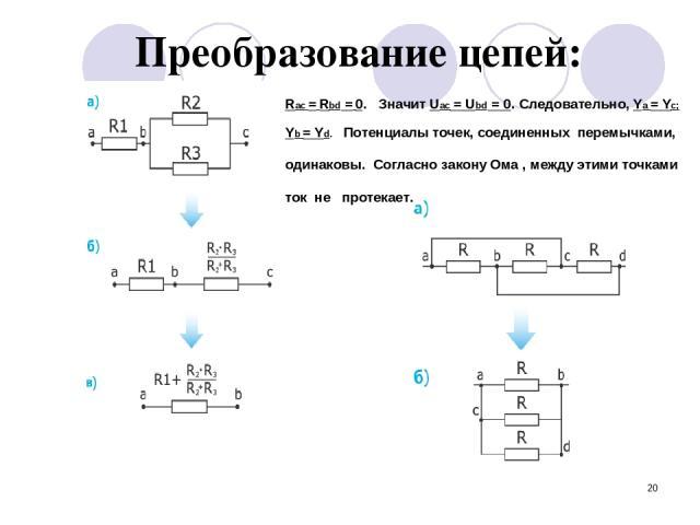* Преобразование цепей: Rас = Rbd = 0. Значит Uac = Ubd = 0. Следовательно, Ya = Yc; Yb = Yd. Потенциалы точек, соединенных перемычками, одинаковы. Согласно закону Ома , между этими точками ток не протекает.