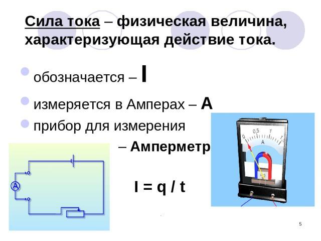 * Сила тока – физическая величина, характеризующая действие тока. обозначается – I измеряется в Амперах – А прибор для измерения – Амперметр I = q / t
