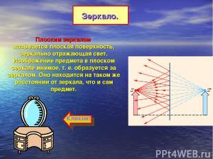 Плоским зеркалом называется плоская поверхность, зеркально отражающая свет. Изоб