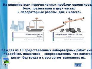 На решение всех перечисленных проблем ориентирован блок презентации в двух частя