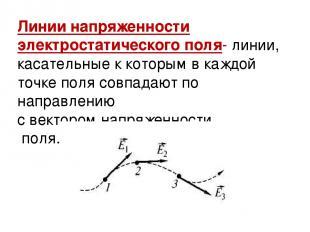 Линии напряженности электростатического поля- линии, касательные к которым в каж