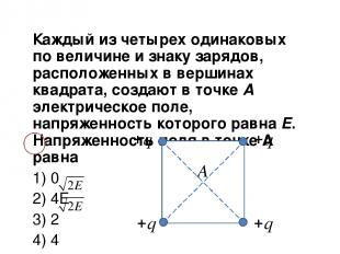 Каждый из четырех одинаковых по величине и знаку зарядов, расположенных в вершин