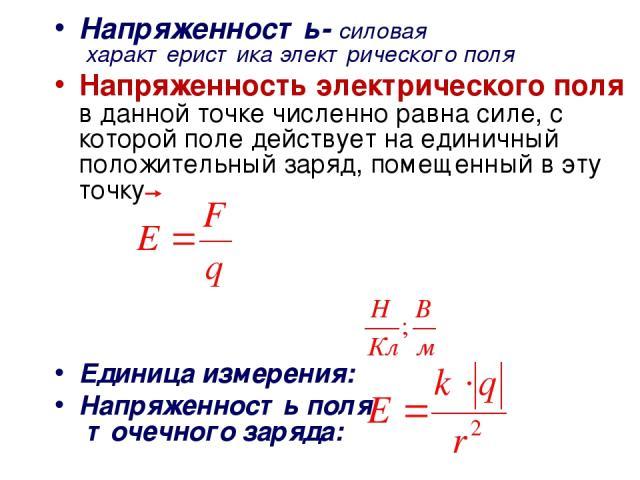 Напряженность- силовая характеристика электрического поля Напряженность электрического поля в данной точке численно равна силе, с которой поле действует на единичный положительный заряд, помещенный в эту точку Единица измерения: Напряженность поля т…