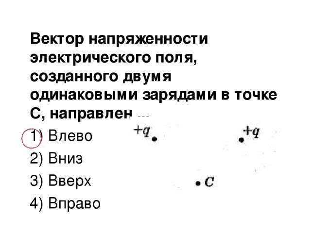 Вектор напряженности электрического поля, созданного двумя одинаковыми зарядами в точке С, направлен ... 1) Влево 2) Вниз 3) Вверх 4) Вправо