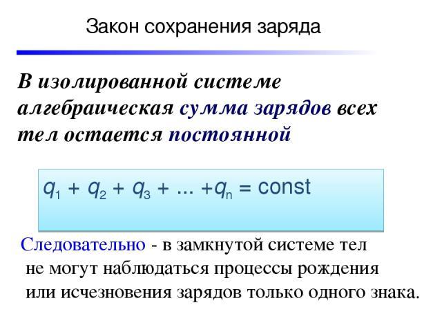 Закон сохранения заряда В изолированной системе алгебраическая сумма зарядов всех тел остается постоянной q1+q2+q3+...+qn=const Следовательно - в замкнутой системе тел не могут наблюдаться процессы рождения или исчезновения зарядов только о…