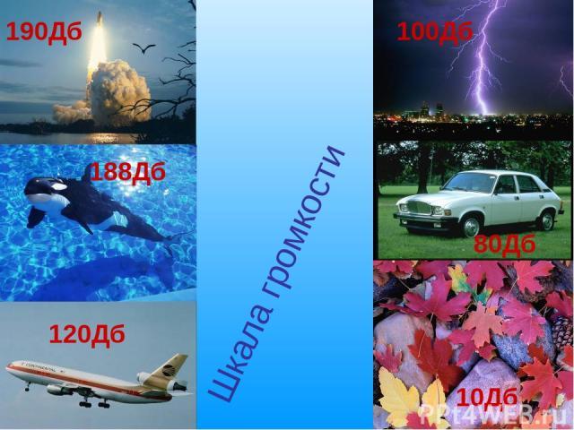 Шкала громкости 80Дб 188Дб 120Дб 190Дб 100Дб 10Дб