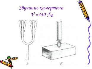 Звучание камертона V =440 Гц