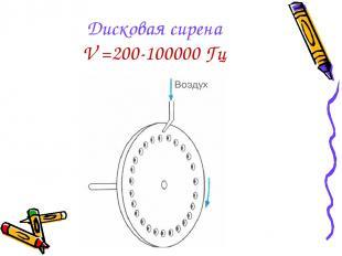 Дисковая сирена V =200-100000 Гц