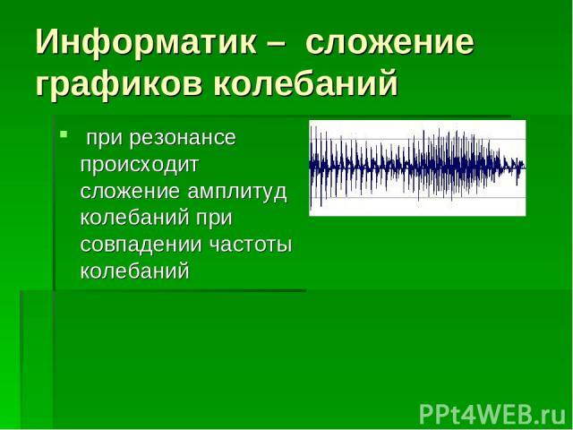 Информатик – сложение графиков колебаний при резонансе происходит сложение амплитуд колебаний при совпадении частоты колебаний