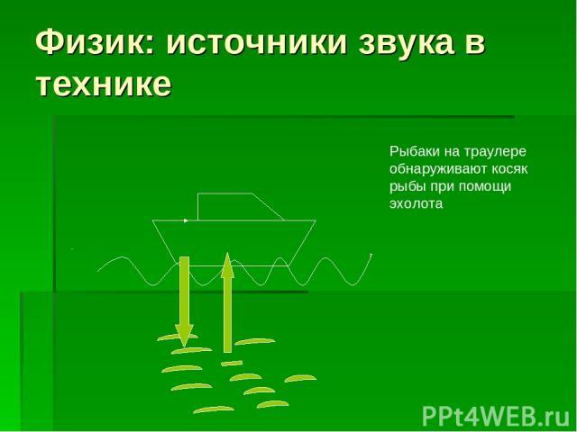 Физик: источники звука в технике Рыбаки на траулере обнаруживают косяк рыбы при помощи эхолота