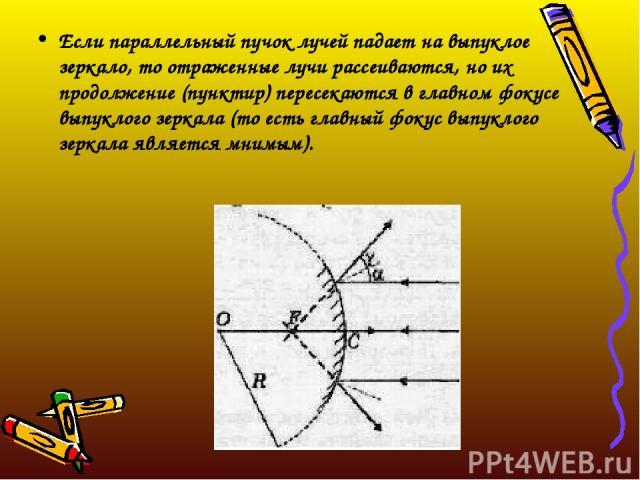 Если параллельный пучок лучей падает на выпуклое зеркало, то отраженные лучи рассеиваются, но их продолжение (пунктир) пересекаются в главном фокусе выпуклого зеркала (то есть главный фокус выпуклого зеркала является мнимым).