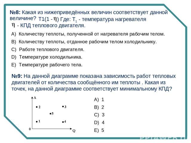 T1(1 - ) Где: Т1 - температура нагревателя - КПД теплового двигателя. №9: На данной диаграмме показана зависимость работ тепловых двигателей от количества сообщённого им теплоты . Какая из точек, на данной диаграмме соответствует минимальному КПД? №…
