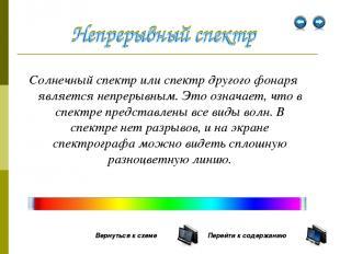 Солнечный спектр или спектр другого фонаря является непрерывным. Это означает, ч