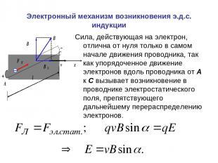 Электронный механизм возникновения э.д.с. индукции Сила, действующая на электрон
