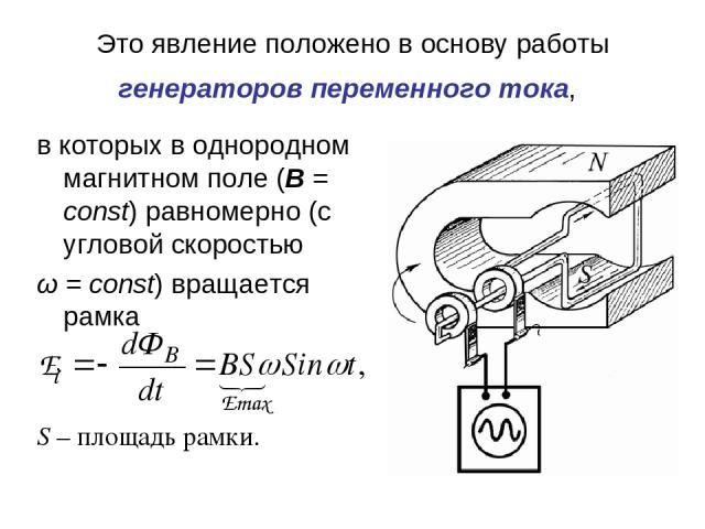 Это явление положено в основу работы генераторов переменного тока, в которых в однородном магнитном поле (B = const) равномерно (с угловой скоростью ω= const) вращается рамка S – площадь рамки.