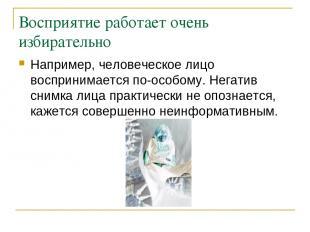 Восприятие работает очень избирательно Например, человеческое лицо воспринимаетс